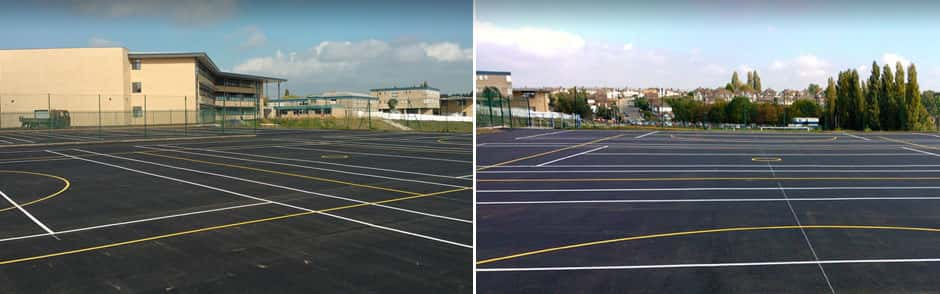 Sports ground tarmac hard surfacing example